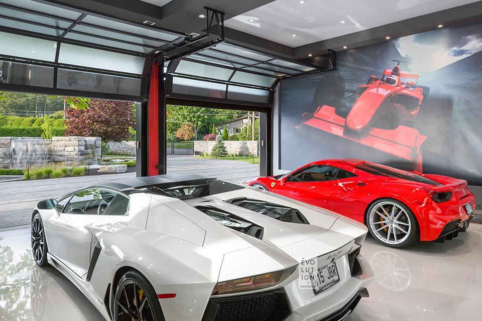 garage de la Maison Le Deux avec voitures sports de luxe