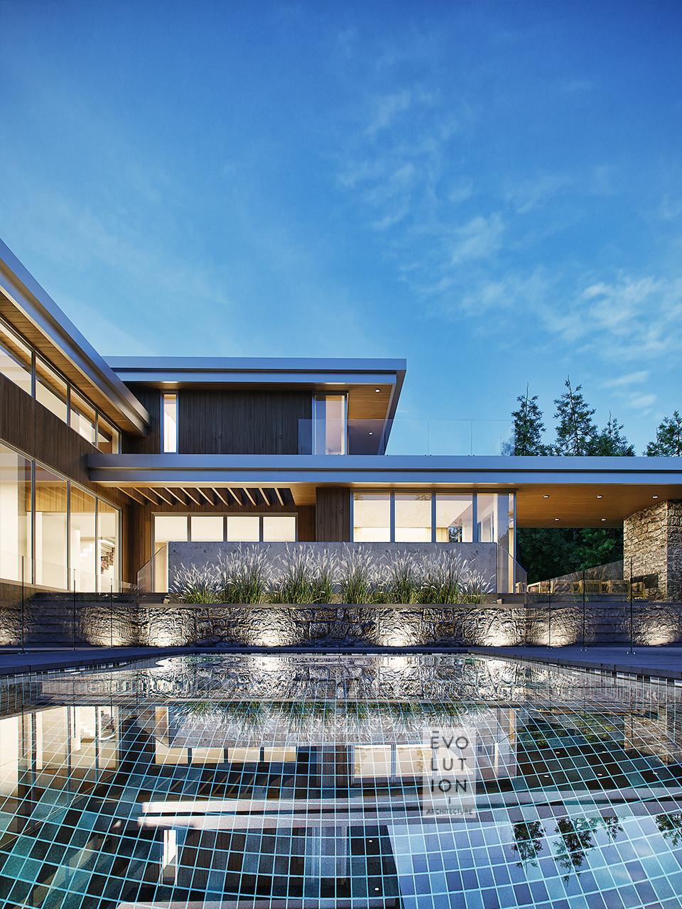 Maison Béton et piscine